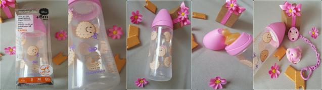 Biberon 360ml biscuits rose Suavinex