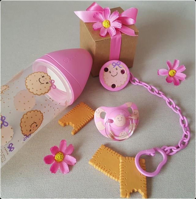 Collection Biscuits-Rose SUAVINEX : biberon / sucette et attache-sucette
