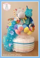 Un gâteau pour des petits jumeaux. Sur le thème tropical et amitié